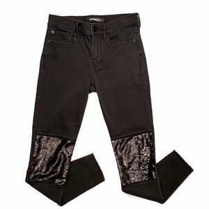Express Sequin Knee Patch Black Skinny Jeans 4R